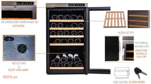 Thiết kế chi tiết tủ rượu Kadeka KA 39WR với sức chứa 39 chai