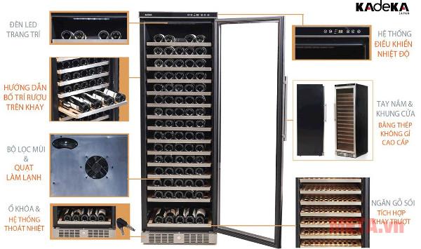 Chi tiết thiết kế tủ rượu Kadeka KSJ-168EW