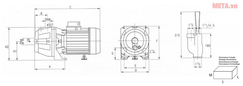 Sơ đồ kích thước máy bơm ly tâm đầu gang Pentax AP100