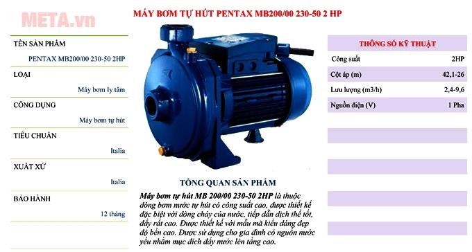 Máy bơm nước dân dụng Pentax MBT 200 - 2HP là dòng máy li tâm