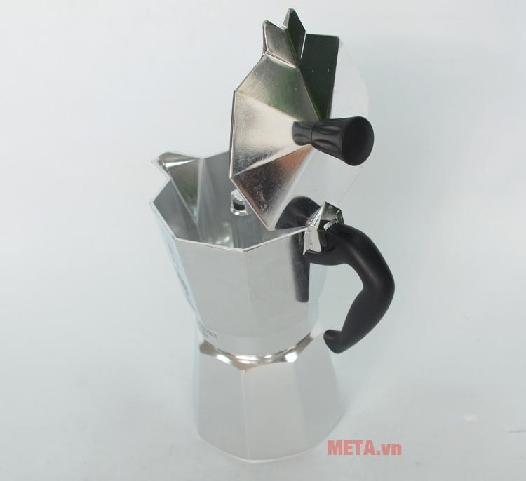 Ấm pha cà phê Bialetti Moka Express 6TZ BCM-1163 có tay cầm chống bỏng