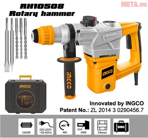 Máy khoan búa INGCO RH10508 sử dụng nguồn điện 220V- 240V/50 - 60 Hz