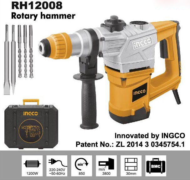 Máy khoan búa INGCO RH12008 khoan bê tông với đường kính hớn 30mm