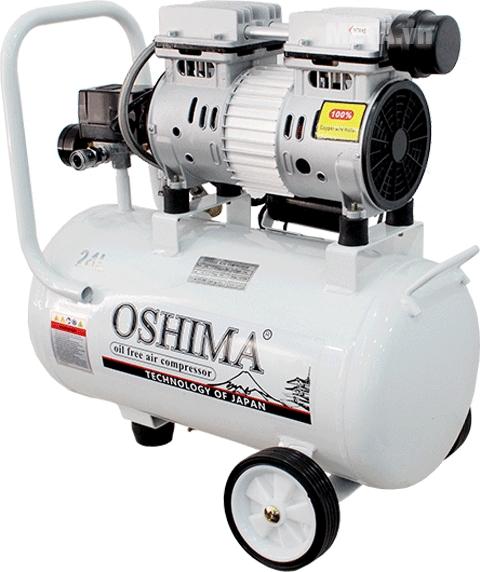 Máy nén khí không dầu Oshima 24L với góc nghiêng.