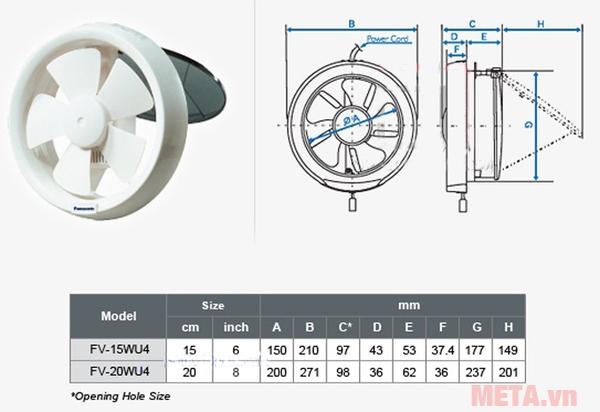 Sơ đồ kích thước lắp đặt quạt thông gió