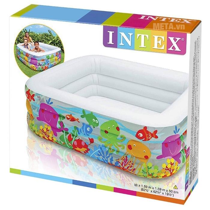 Bể bơi INTEX đại dương vuông 57471 thiết kế hình vuông, thành bể có màu sắc và hình ảnh đại dương, viền trắng tạo cảm giác mát mẻ trong mùa hè
