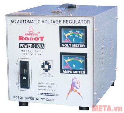 Ổn áp Robot SP09 3KVA có điện áp ra 220V/50 - 60 Hz.