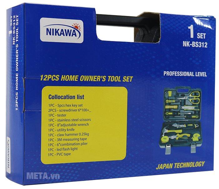 Bộ dụng cụ 12 món Nikawa NK-BS312 được trang trí thêm vỏ bìa hộp giấy bên ngoài hộp nhựa