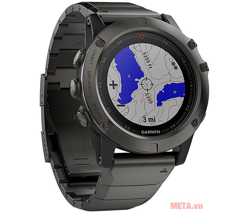 Vòng đeo tay theo dõi sức khỏe Garmin Fenix 5 Sate Gray có khả năng hiển thị địa hình