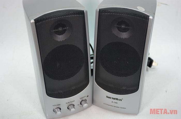 Loa SoundMax A140 2.0 được thiết kế mặt loa dạng lưới đẹp mắt