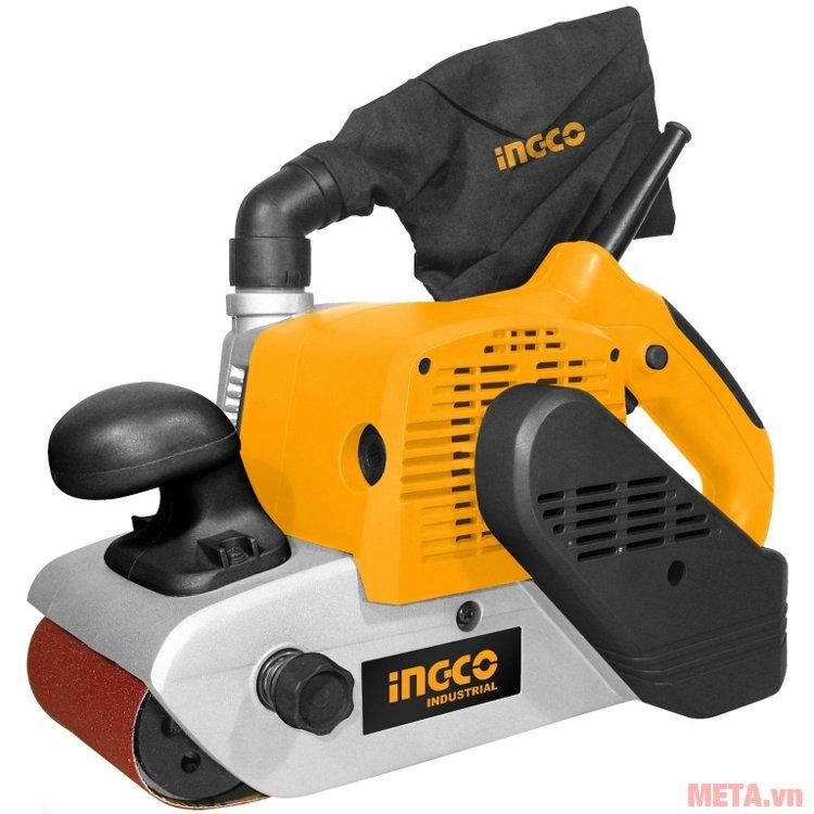 Máy chà nhám băng INGCO PBS12001 có tông màu vàng nổi bật