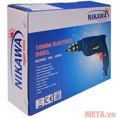 Máy khoan cầm tay Nikawa NK-ED04 được bảo quản trong hộp giấy bìa cứng