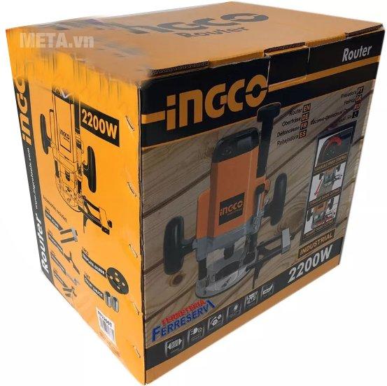 Máy phay gỗ INGCO RT22001 được bảo quản trong hộp giấy bìa cứng