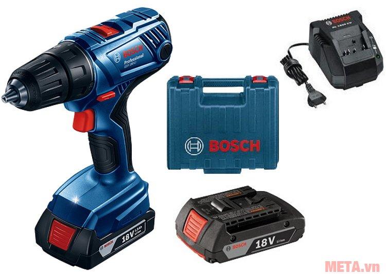 Máy khoan bắt vít dùng pin Bosch GSR 180-Li đi kèm hộp đựng, pin sạc và củ sạc