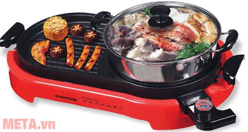 Bếp lẩu nướng điện Sunhouse SHD4650 tích hợp hai chức năng ăn lẩu và ăn nướng