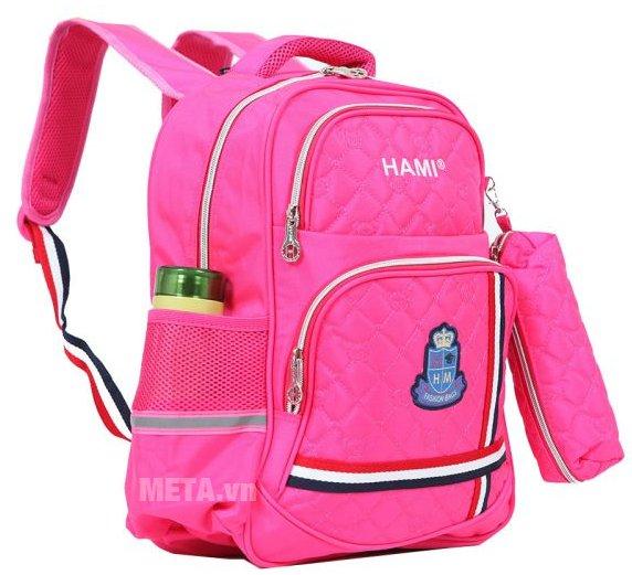 Balo cấp 1 Hami BL201A có thêm 2 túi lưới và ngăn phụ nhỏ đựng kính, bút...
