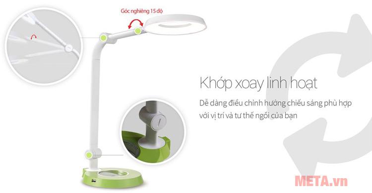 Đèn bàn led Hàn Quốc cảm ứng Prism 6300GR có các khớp xoay linh hoạt phù hợp với nhiều không gian