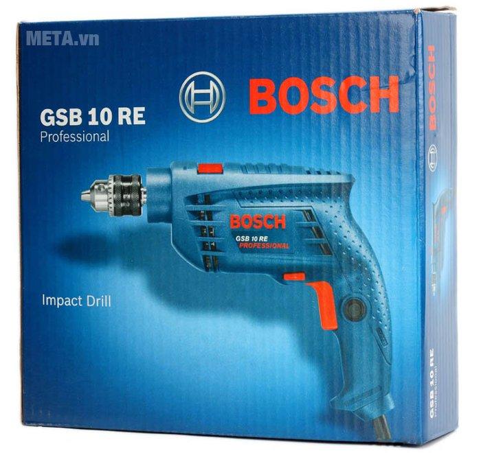 Máy khoan động lực Bosch GSB 10 RE được bảo quản trong hộp giấy