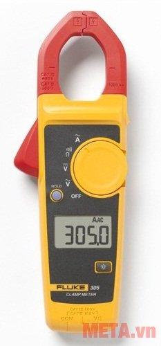 Ampe kìm AC Fluke 305 có khả năng kẹp rất chắc chắn vào đoạn dây mà dòng điện chạy qua.