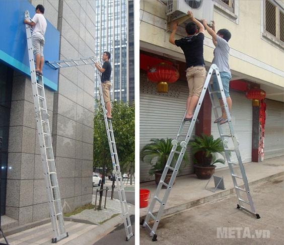 Hình ảnh minh họa khi sử dụng thang nhôm gấp đa năng