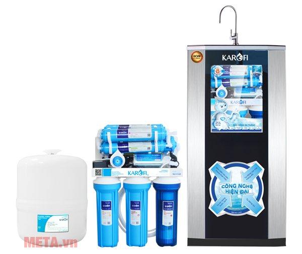 Máy lọc nước Karofi tiêu chuẩn SRO 8 cấp lọc KSI80 thiết kế vỏ tủ sang trọng, có tích hợp vòi lấy nước