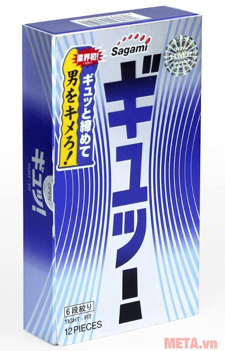 Bao cao su Sagami Tight-Fit 12 chiếc bảo quản trong hộp đựng giấy