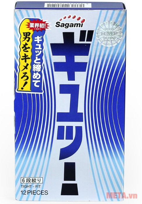 Mặt trước vỏ hộp bao cao su Sagami Tight-Fit 12 chiếc