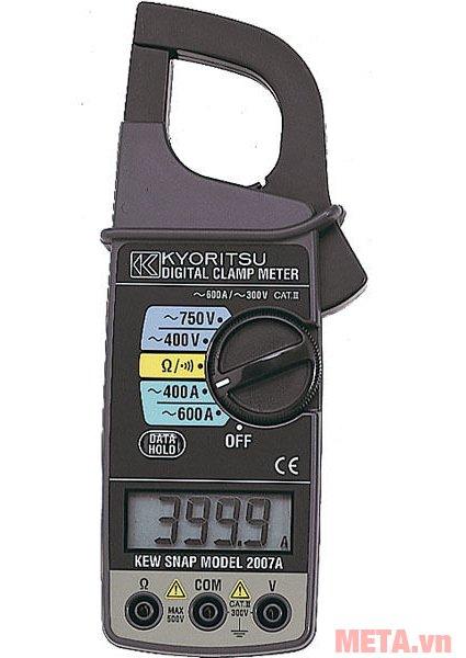 Ampe kìm Kyoritsu 2007A có núm vặn xoay để lựa chọn chế độ đo