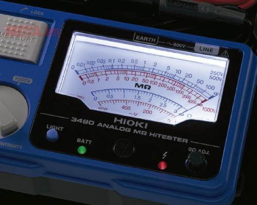Máy đo điện trở cách điện Hioki 3490 có đèn led để làm việc trong điều kiện thiếu ánh sáng