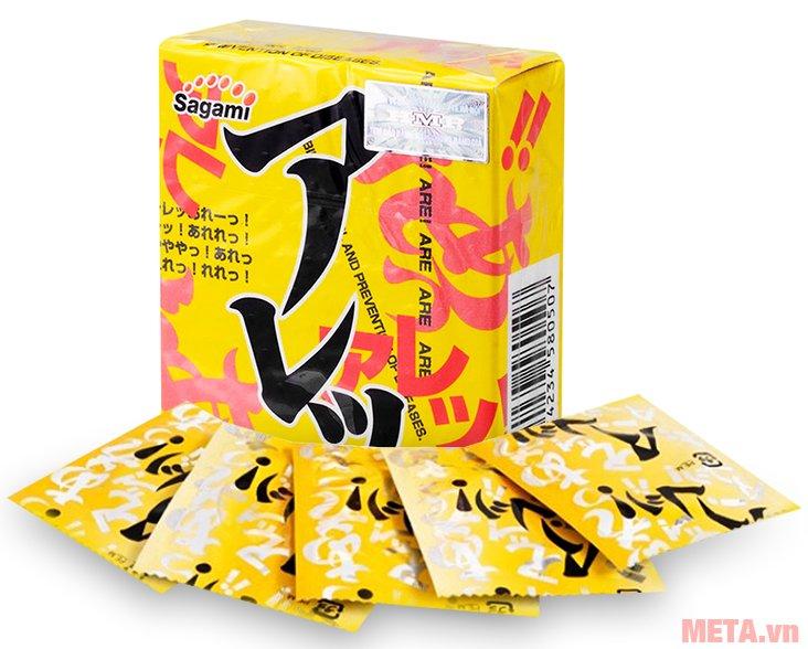 Bao cao su Sagami Are - Are (hộp 5 chiếc) có tính năng co giãn tốt phù hợp với mọi