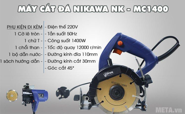 Máy cắt gạch, đá đa năng Nikawa NK-MC1400 cắt được góc nghiêng và góc vuông