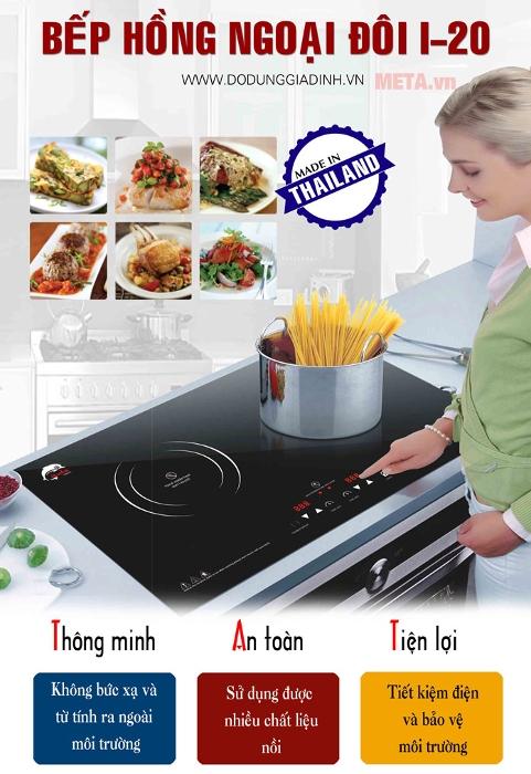 Bếp từ kết hợp hồng ngoại có khả năng điều chỉnh nhiệt độ bằng cảm ứng nhạy, hiện đại