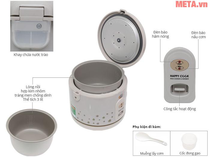 Thiết kế chi tiết nồi cơm điện Happy Cook HC-300