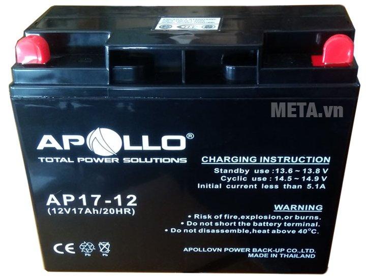 Ắc quy Apollo 12V 17Ah AP17-12 có trọng lượng 4.9kg dễ di chuyển