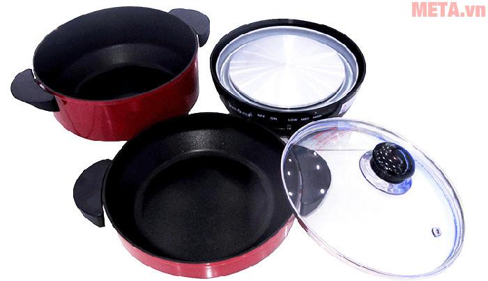 Một bộ sản phẩm bao gồm: 1 bếp điện, 2 nồi và một nắp nồi