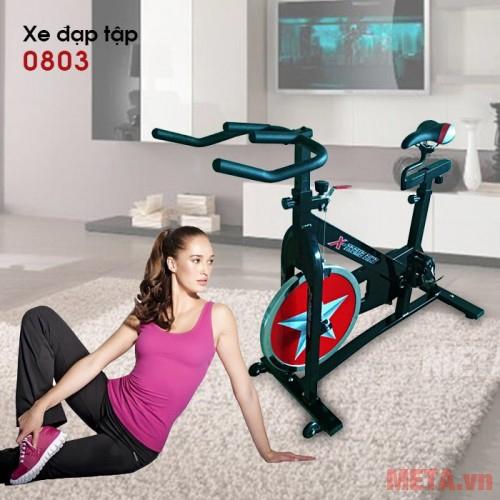 Xe đạp tập thể dục 0803 thiết kế có yên
