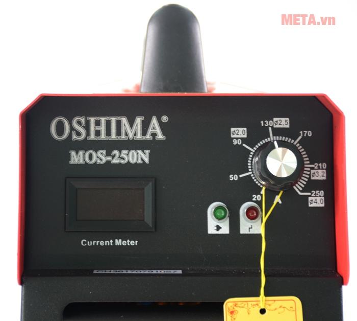 Máy có đèn báo hoạt động và bảng điện tử dòng đo hiện tại