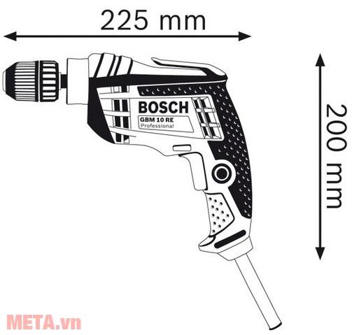Kích thước của máy khoan Bosch GBM 10 RE