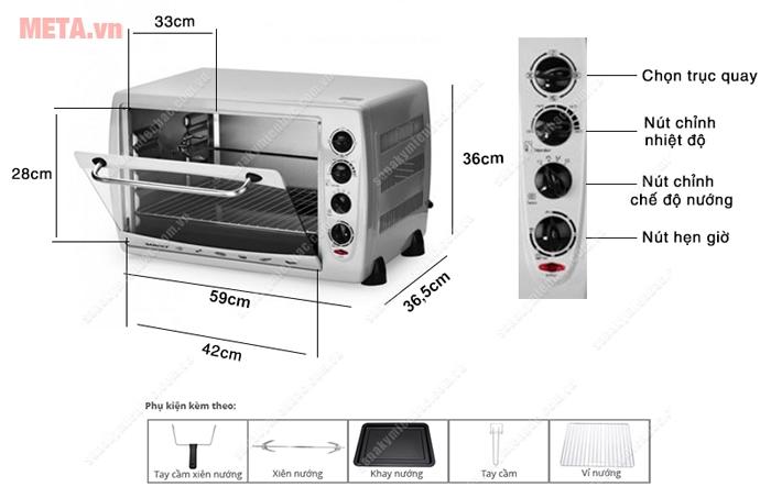 Lò nướng Sanaky VH 509B - 50 lít sử dụng nhiều chức năng và công nghệ thông minh