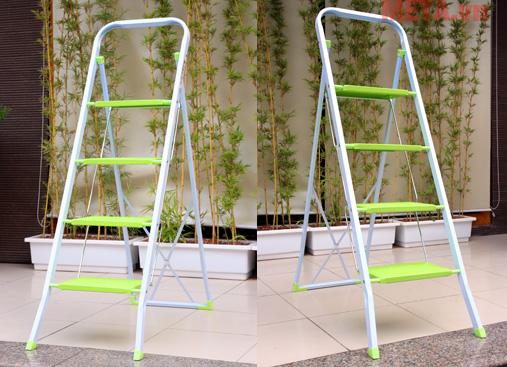 Các mặt bậc của thang được thiết kế rộng, tạo an toàn cho người sử dụng