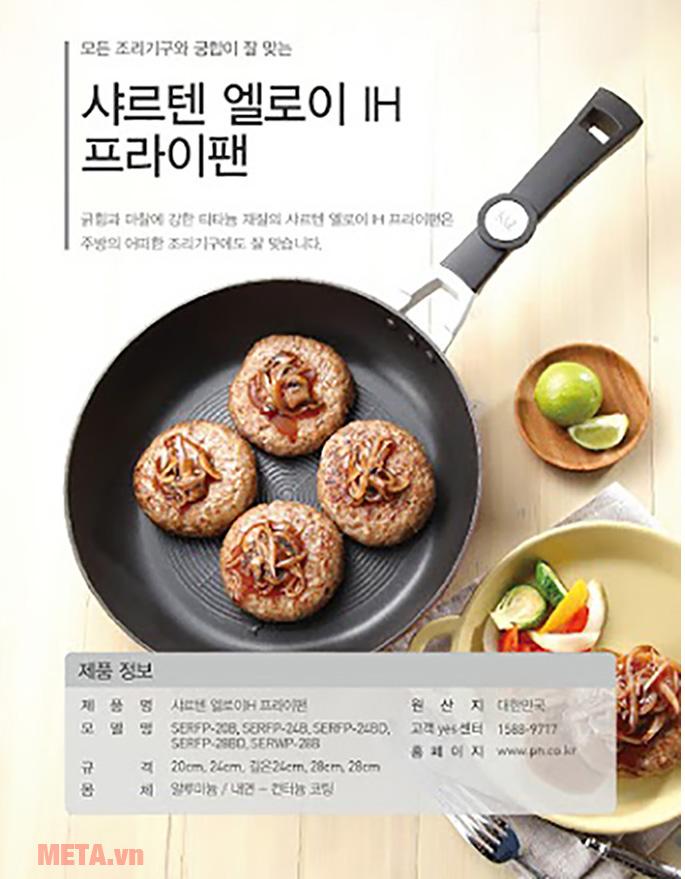 Chảo chống dính PoongNyun SERFP(IH)-28B giúp bạn chế biến những món chiên ngon tuyệt