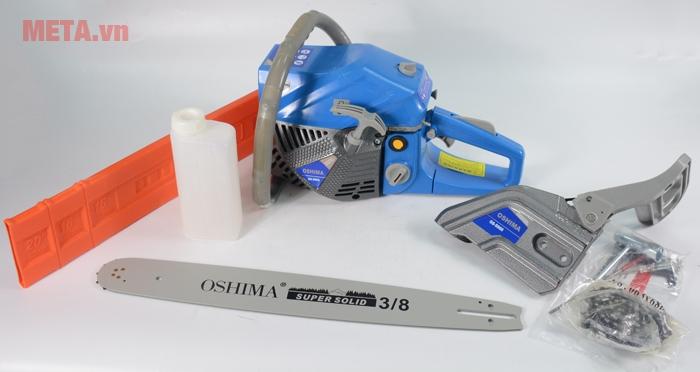 Máy cưa xích Oshima 5900 được thiết kế với màu xanh trang nhã.
