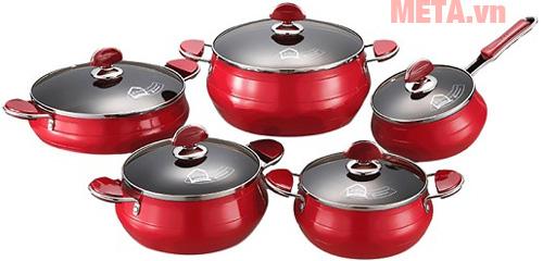 Hình ảnh bộ 5 nồi nhôm PoongNyun FAP(R) - màu đỏ
