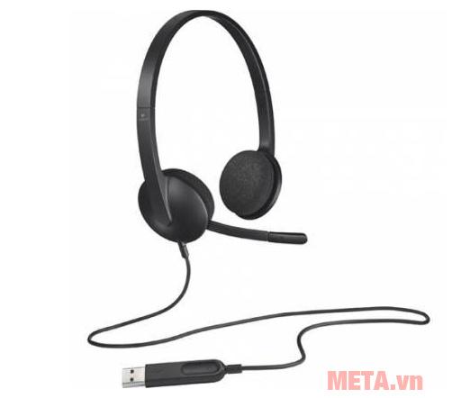 Tai nghe có dây Logitech H340 có khe cắm với USB