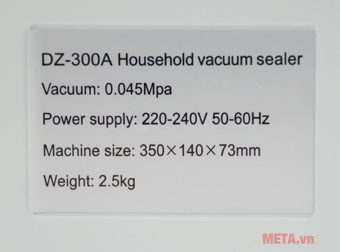 Thông số kỹ thuật của máy hút chân không