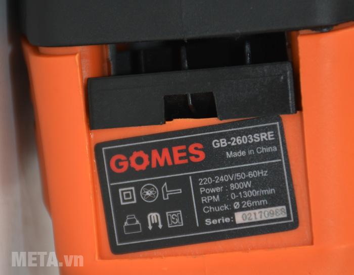 Máy khoan bê tông Gomes GB-2603SRE có kiểu dáng cầm tay