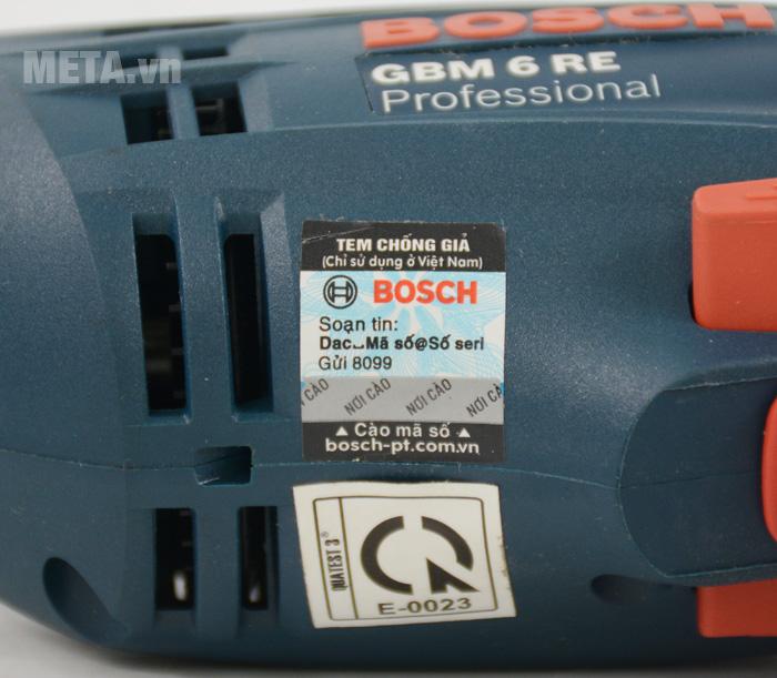 Máy khoan Bosch GBM 6 RE có đường kính khoan nhôm 6mm