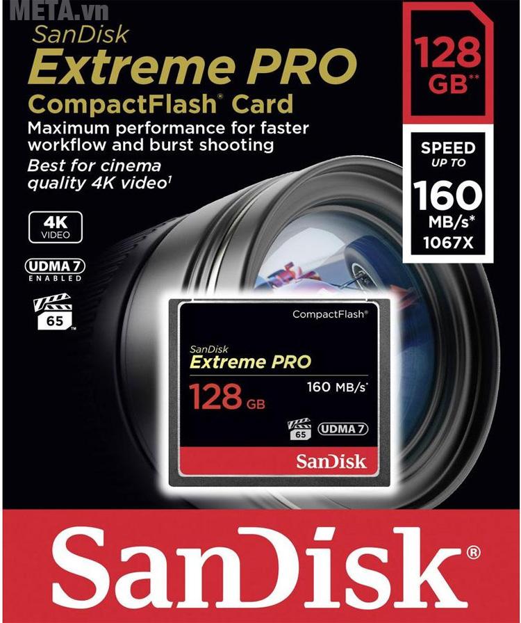Thẻ nhớ SanDisk SDCFXPS-128G-X46 sử dụng cho máy ảnh và máy quay phim chuyên nghiệp