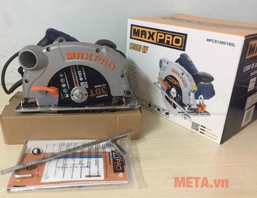 Máy cưa đĩa Maxpro MPCS1300/185L đi kèm thước đo tiện lợi