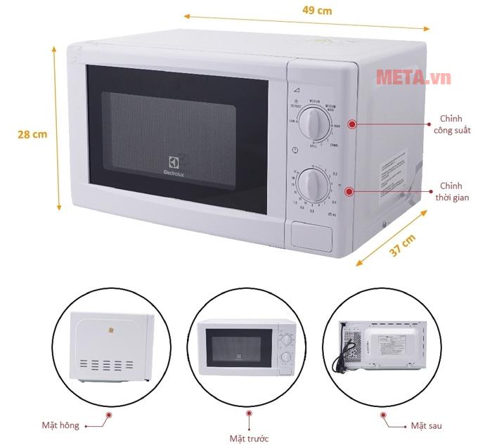 Thiết kế chi tiết lò vi sóng Electrolux EMM2021GW